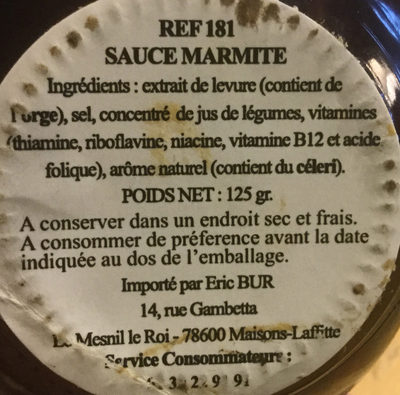 Marmite yeast extract - Ingrédients - fr
