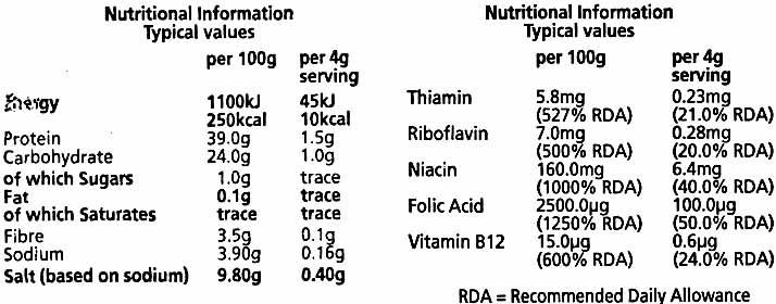 Marmite yeast extract - Información nutricional