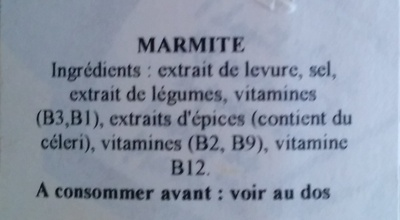 Marmite - Ingrédients - fr