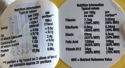 Marmite yeast extract - Nutrition facts
