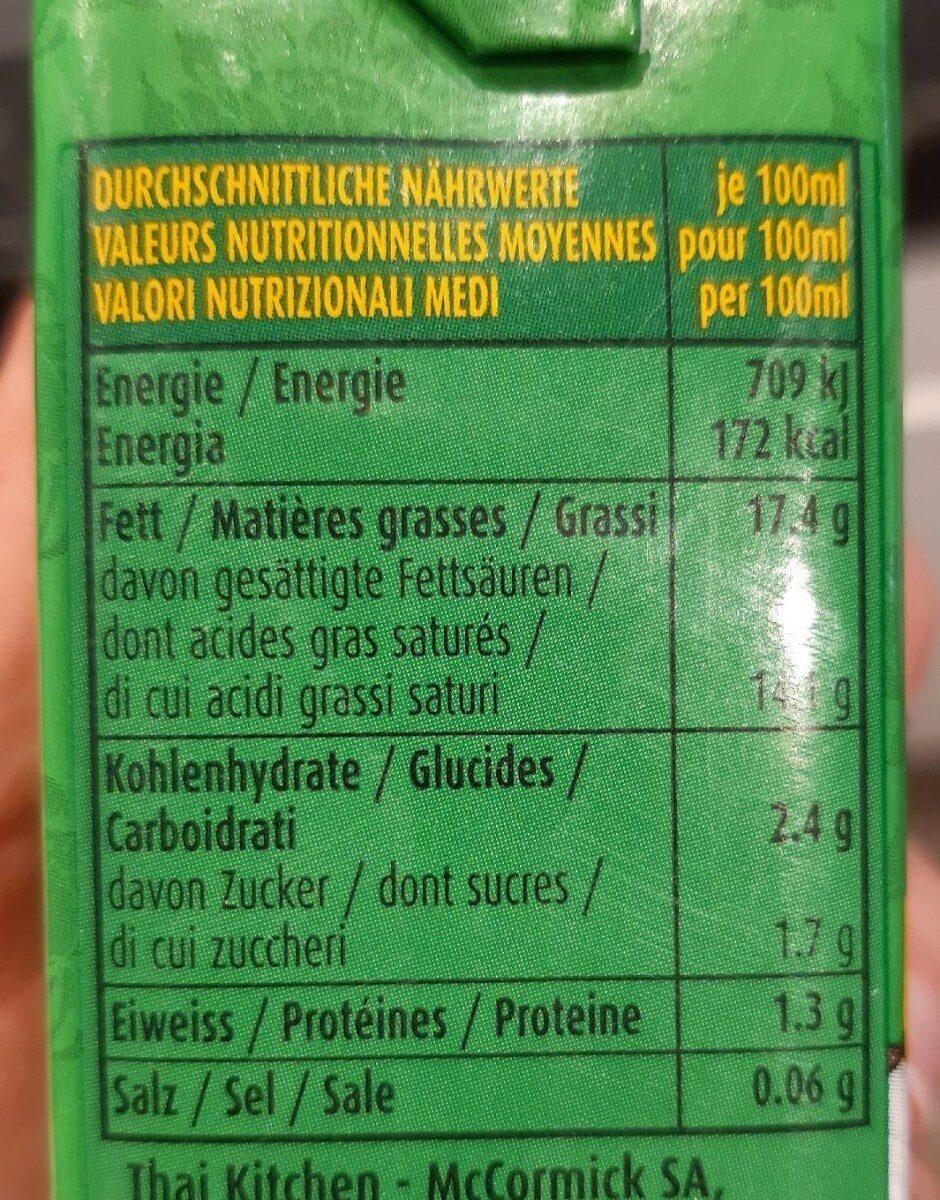 Kokosnussmilch - Informations nutritionnelles - fr