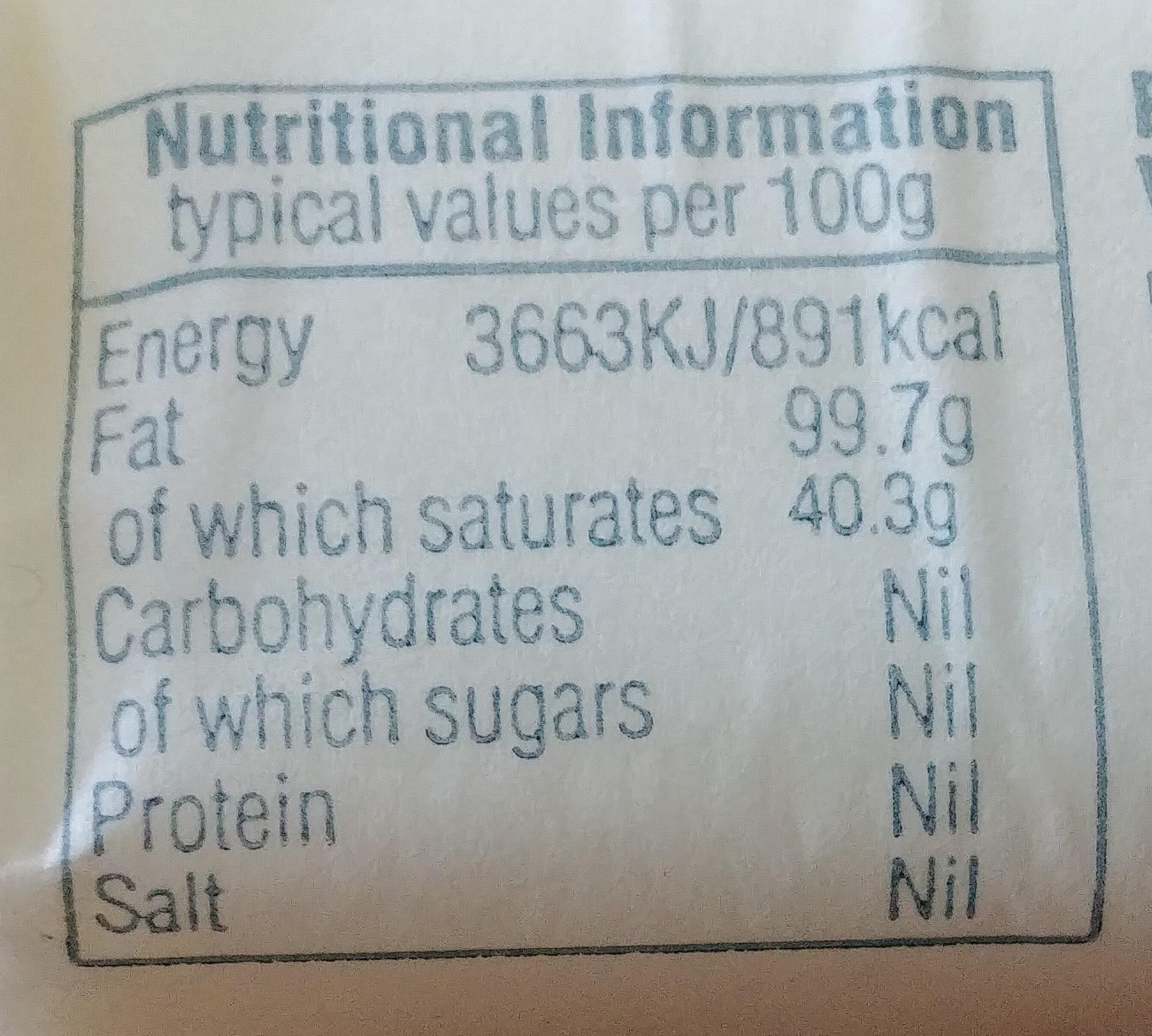 Just Lard - Nutrition facts - en