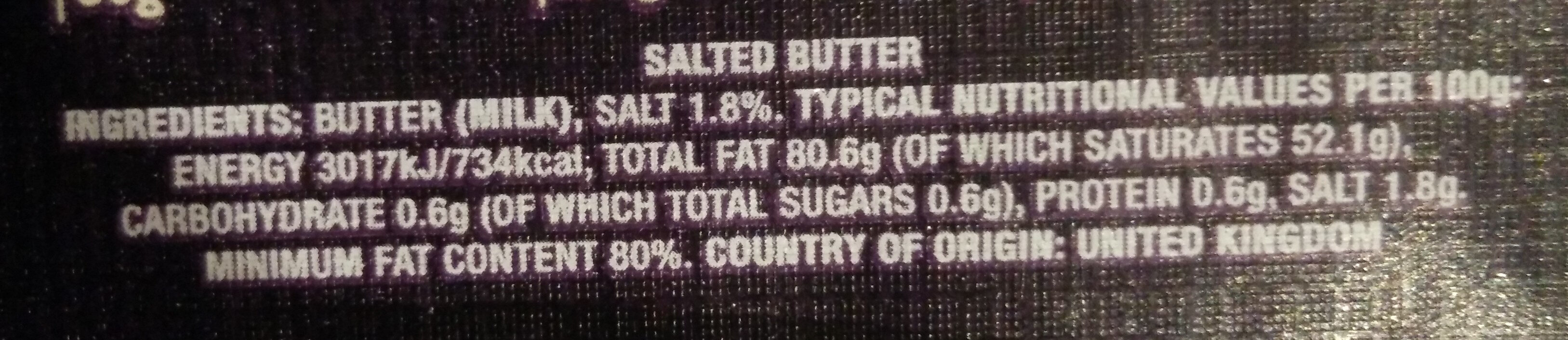 Farmhouse butter - salted - Nutrition facts