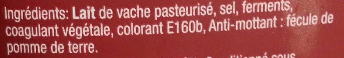 Cheddar Rouge Râpé - Ingredients