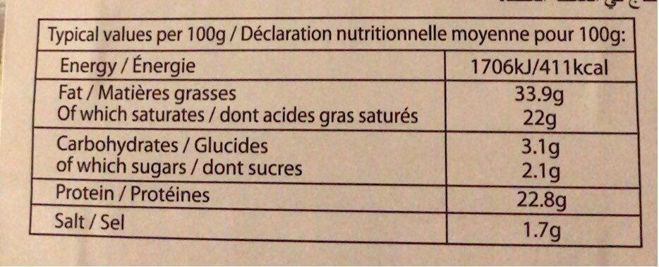 Cheddar aux oignons caramélisés - Informations nutritionnelles - fr