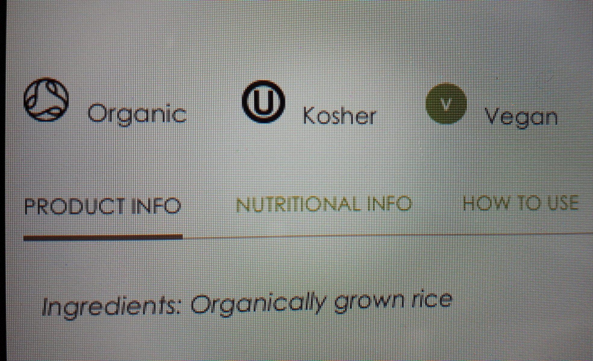 Organic Sushi Rice - Ingrédients