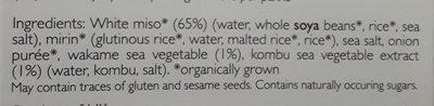 Organic Instant White Miso Soup Paste - Ingrediënten