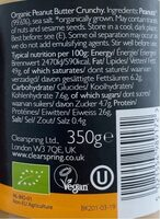 Bio Kitchen Organic Peanut Butter - Nutrition facts - pt