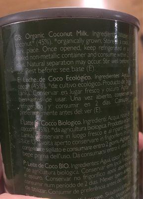 Lait De Coco Biologique - Ingrédients