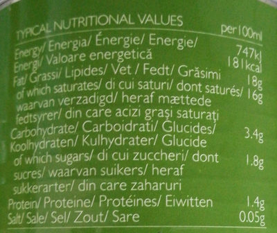 Lait De Coco Biologique - Informations nutritionnelles