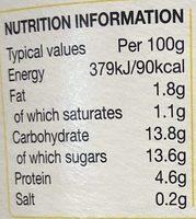 Rachel's Organic Low Fat Vanilla yogurt - Nutrition facts