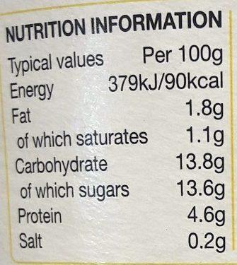 Rachel's organic bio live yogurt - Informations nutritionnelles - en