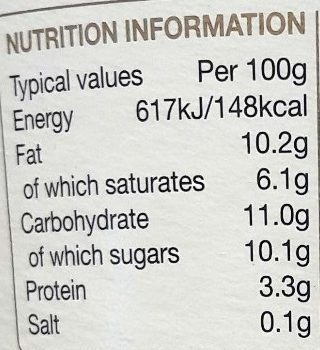Rach Org Bio-live Coconut Greek - Nutrition facts