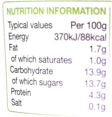 Rachel's Organic Low Fat Gooseberry Yogurt - Valori nutrizionali - en