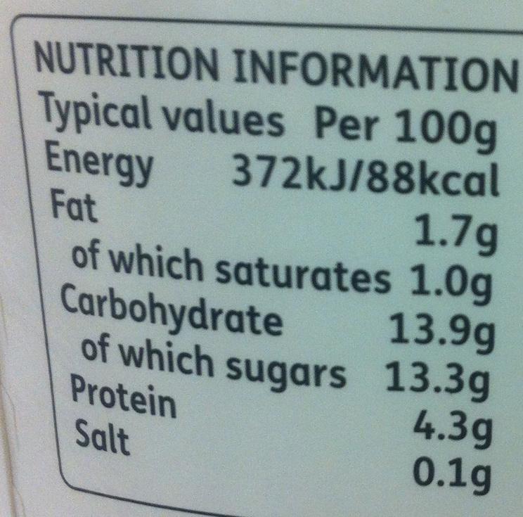 Fig & Honey or Apple & Elderflower Bio-Live Yogurt - Nutrition facts