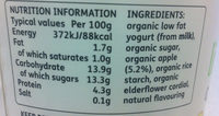 Fig & Honey or Apple & Elderflower Bio-Live Yogurt - Informations nutritionnelles - fr