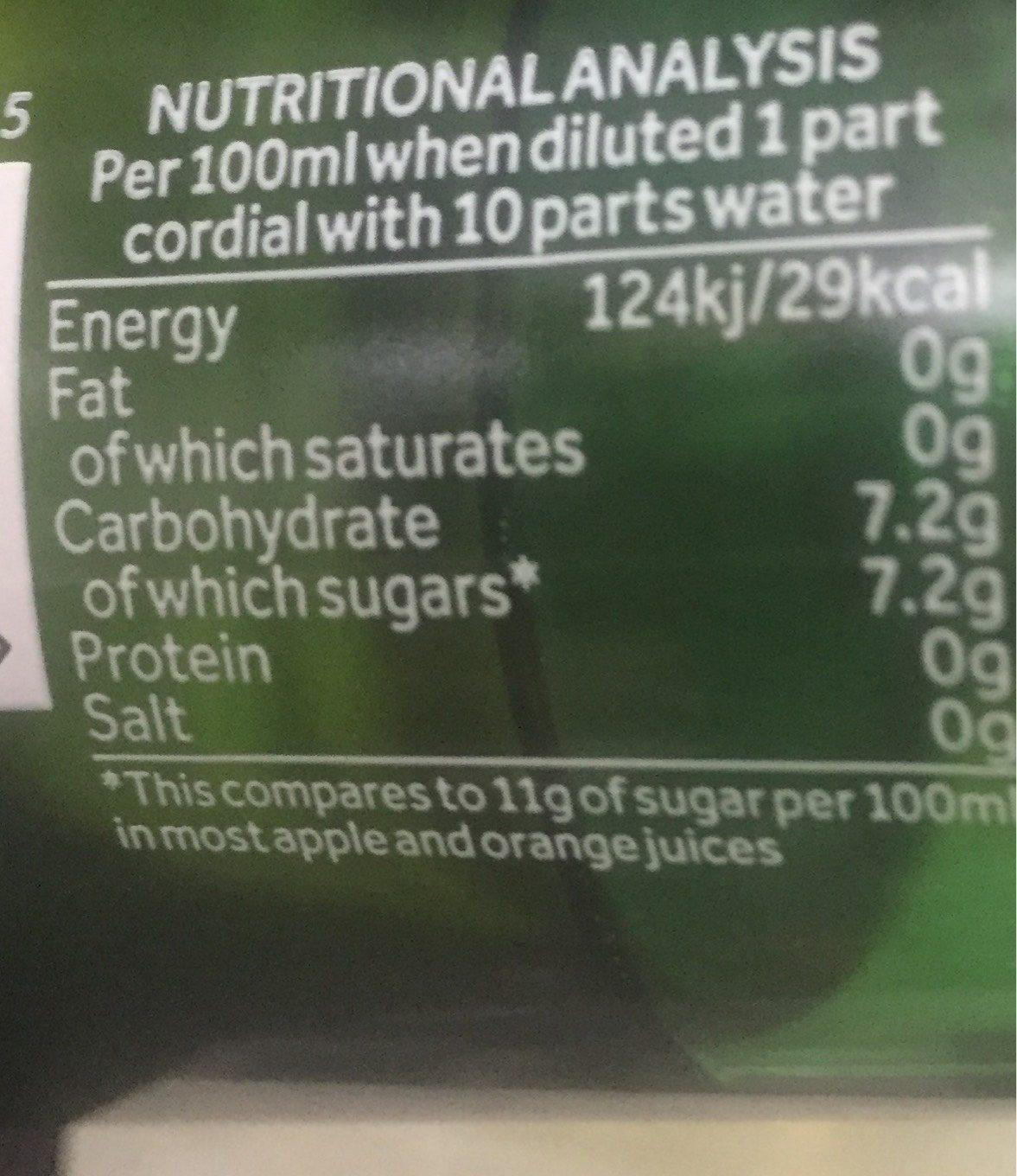 Bottle of Green Cordial (Handpicked Elderflower) - Nutrition facts