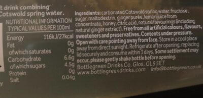 Refreshing ginger beer - Nutrition facts