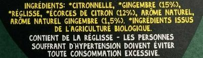 Citron & gingembre bio infusion - Ingrédients