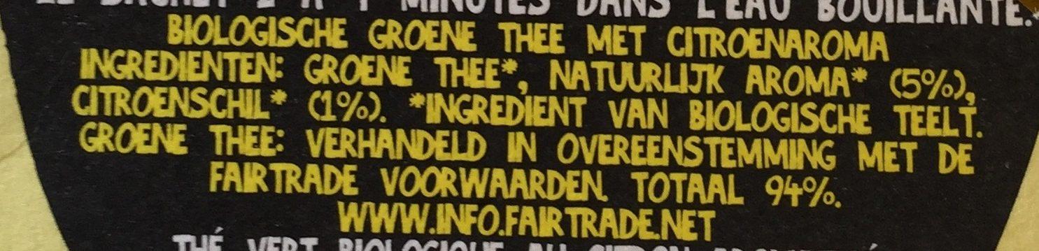 Lemon organic Green Tea - Ingrediënten - nl