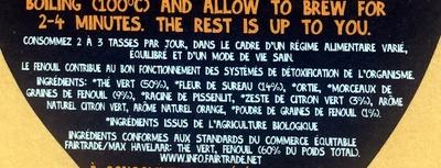 Thé Vert Detox bio - Ingrédients - fr
