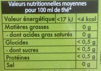 Thé Vert Detox bio - Informations nutritionnelles - fr