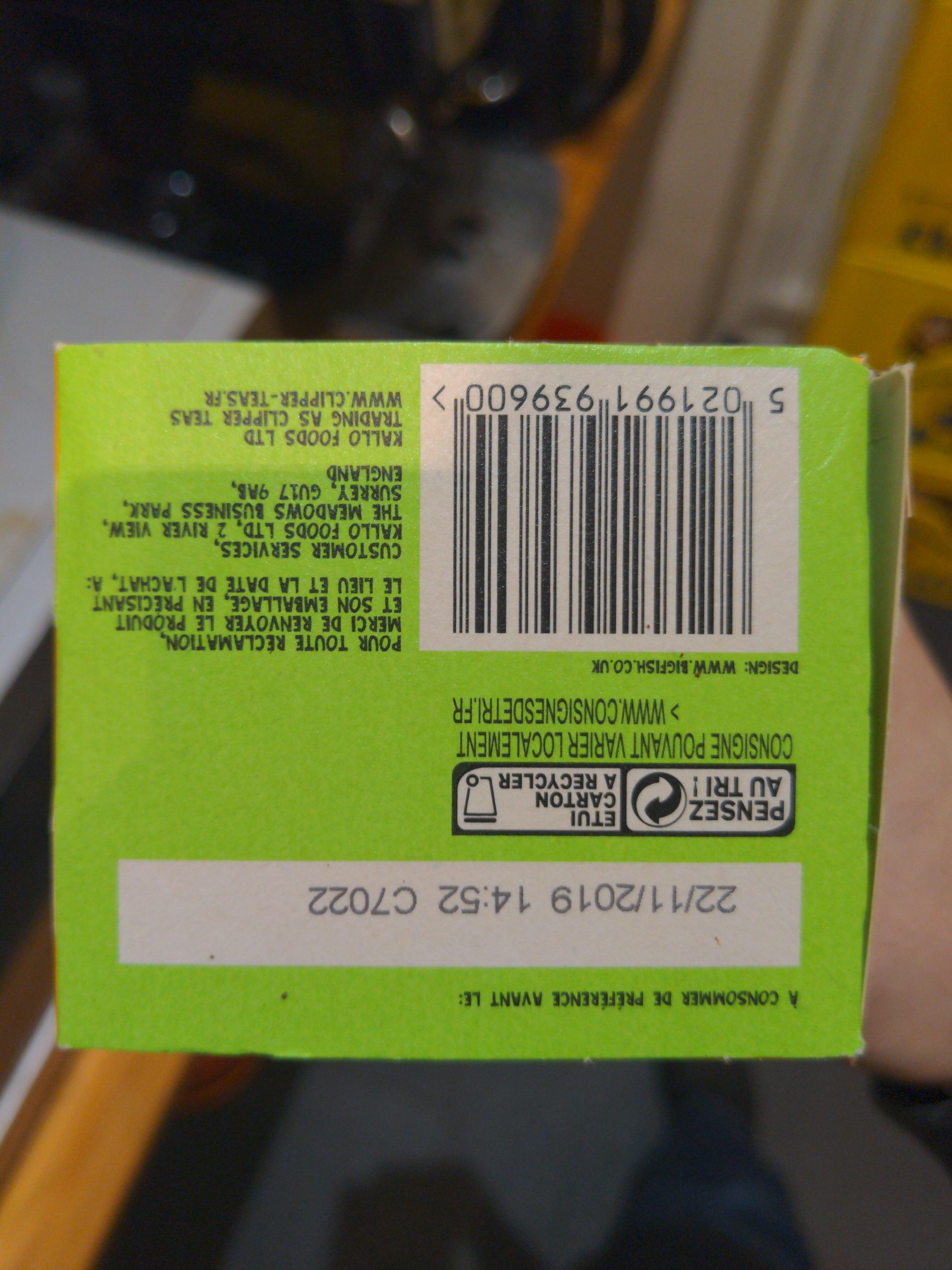 Thé Vert Detox bio - Instruction de recyclage et/ou informations d'emballage - fr