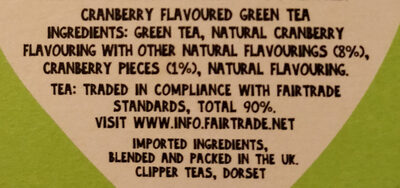 Cranberry Green Tea - Ingrédients