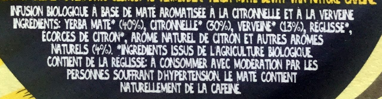 Clipper organic lemongrass, maté & lemon verbena infusion - Ingrédients - fr