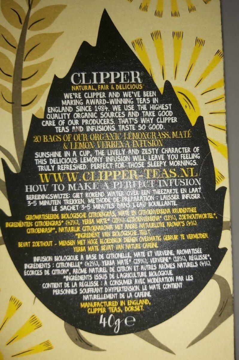Clipper organic lemongrass, maté & lemon verbena infusion - Informations nutritionnelles - en