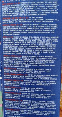 ADVENT CALENDAR OF ORGANIC TEA - Ingredients - fr