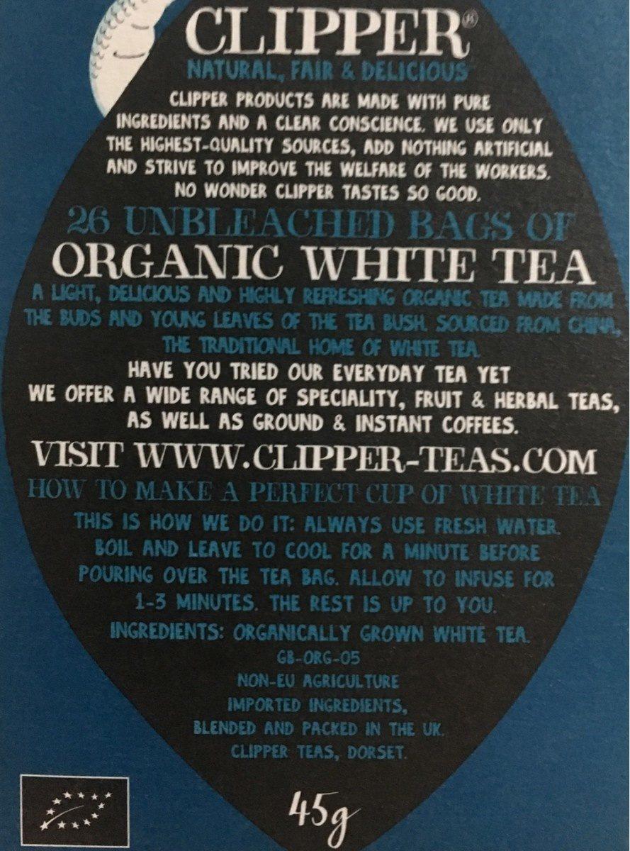 Clipper Organic White Tea X26 Tea Bags - Ingrédients