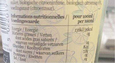 Belvoir Organic Handmade Lemonade - Informations nutritionnelles - fr