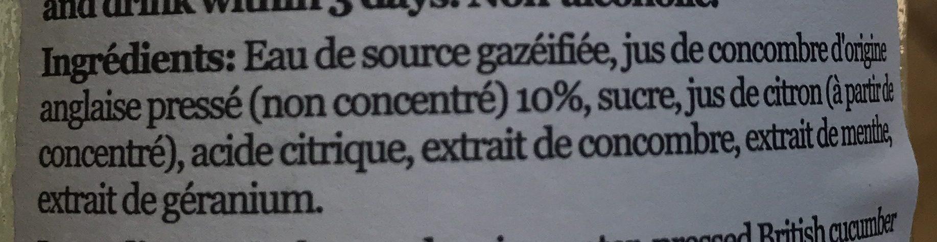 Limonade Aromatisée Concombre & Menthe - Ingrediënten