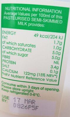 Milk - Voedingswaarden - en