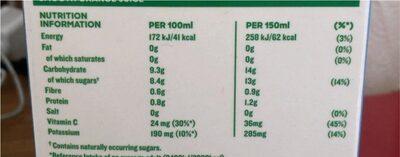 Tropicana Smooth Orange with no bits - Nutrition facts - en
