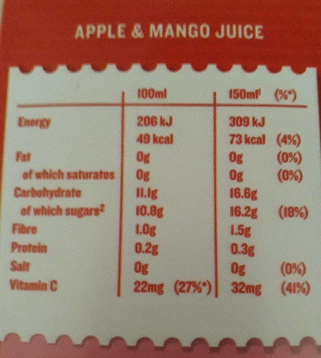 Tropicana Apple & Mango Juice 850ML - Voedigswaarden