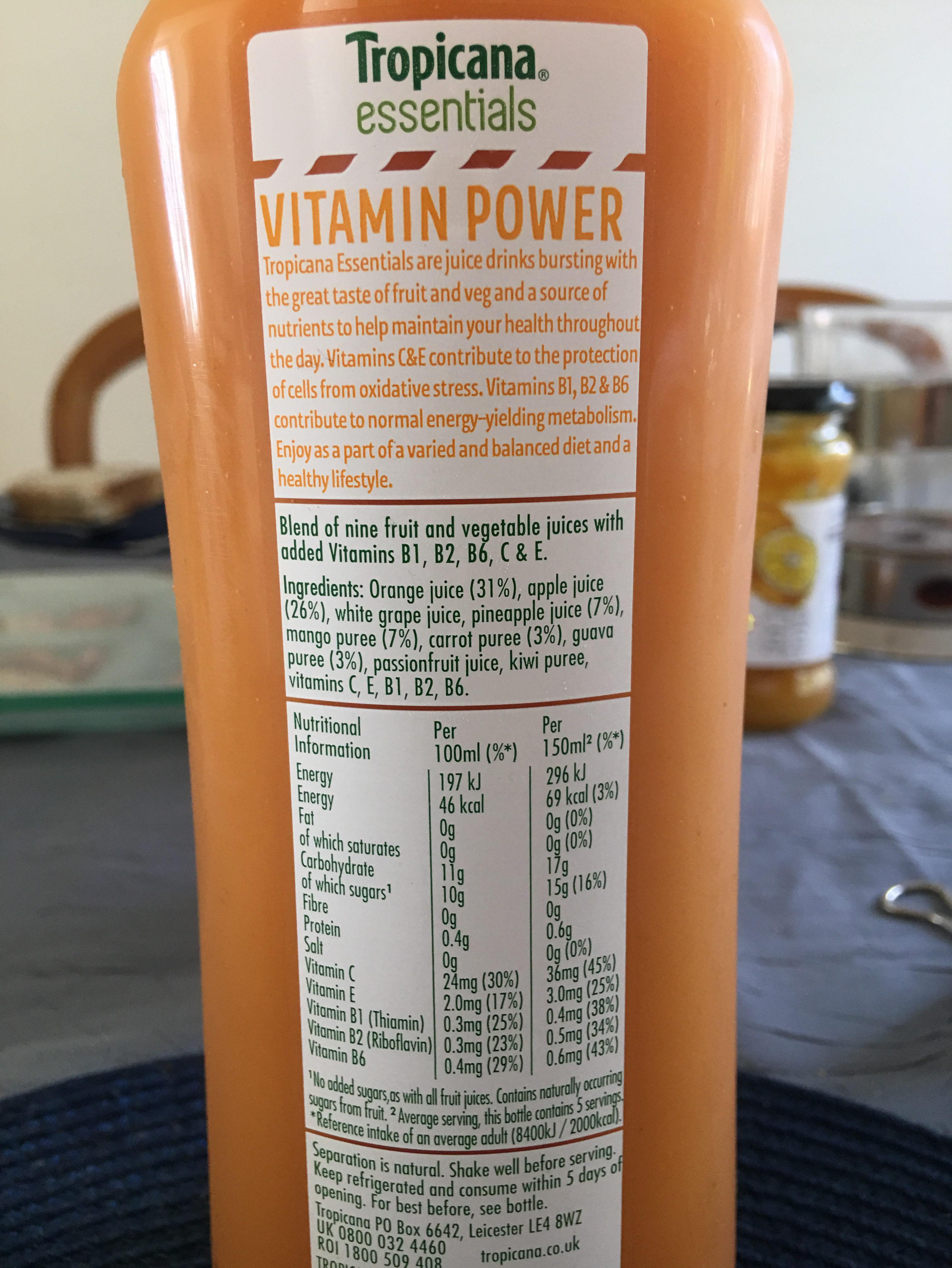 Vitamin power Tropica essentials - Ingrediënten - en