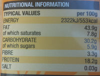Natural cashews - Nutrition facts