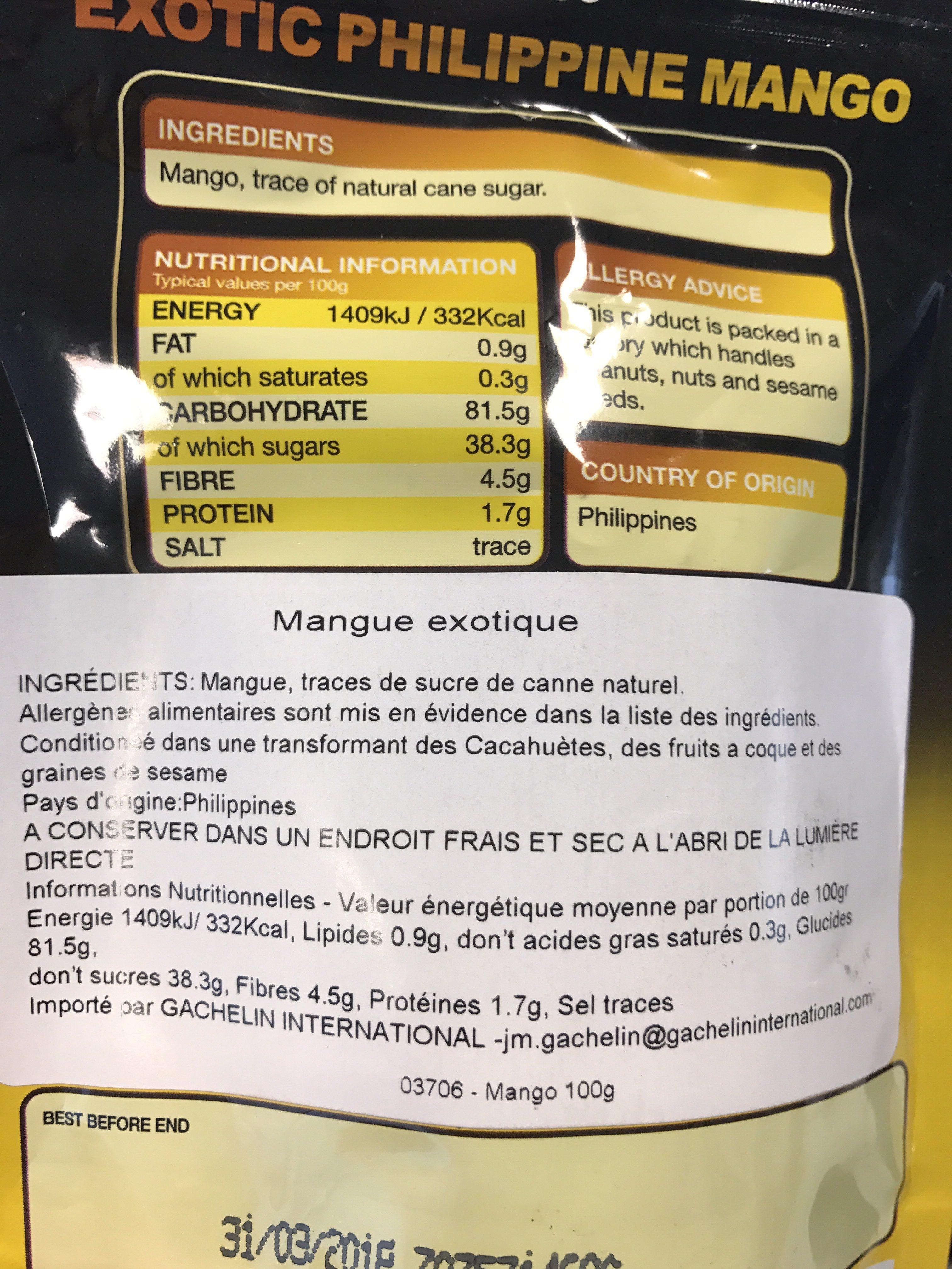 Mangue Exotique - Ingrediënten
