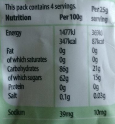 Vegebears - Nutrition facts