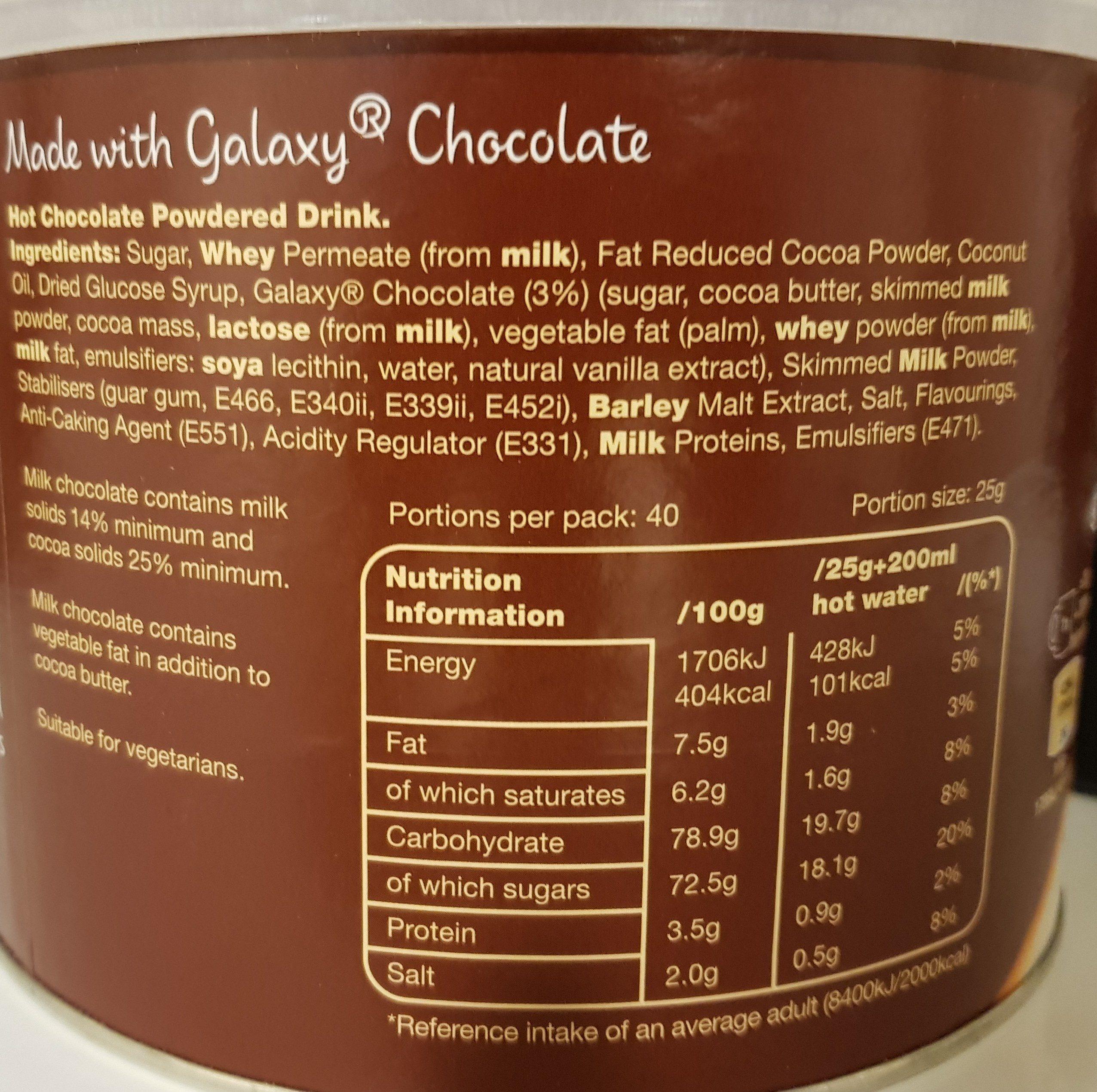 Instant Hot Chocolate - Ingrediënten - en