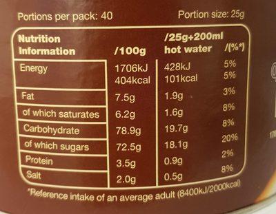 Instant Hot Chocolate - Voedingswaarden - en