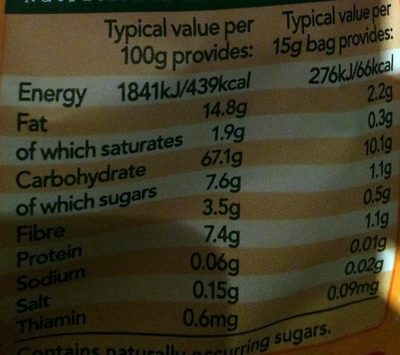 organic goodies - carrot stix - Nutrition facts