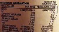 Kefir vanilla - Valori nutrizionali - en