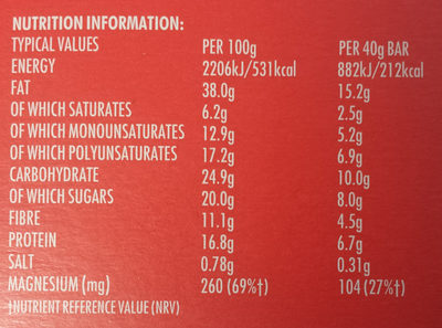 Salted Caramel Seed Bars - Nutrition facts