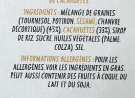 Super-Graines Cacahuète Original Lift Bar - Ingredients