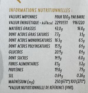 Super-Graines Cacahuète Original Lift Bar - Nutrition facts
