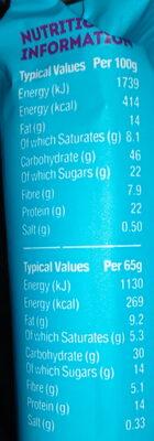 Barre protéinée vanille caramel graines de chia - Informations nutritionnelles - en