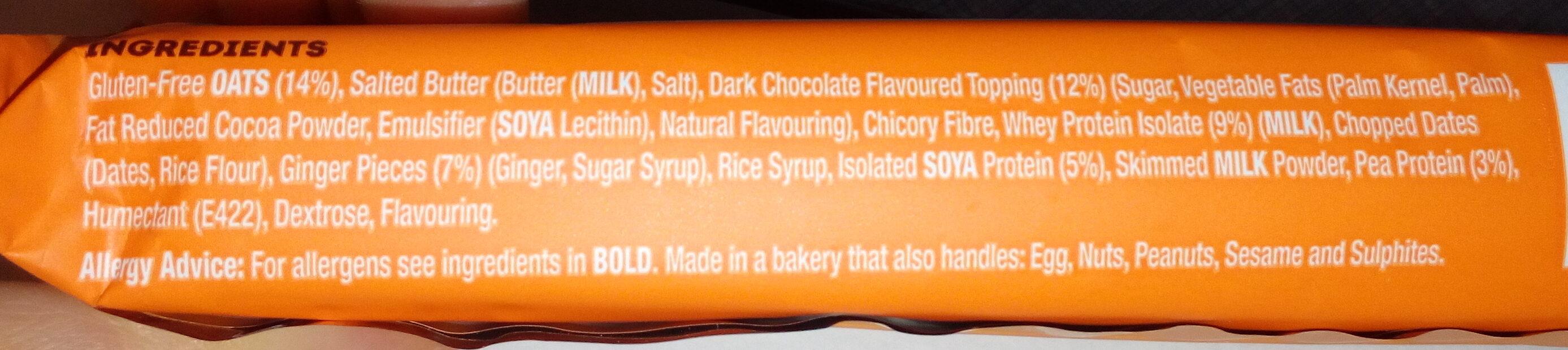 Barre protéinée flapjack gingembre, orange, chocolat noir - Ingrédients - en